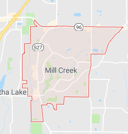 Mill Creek roof cleaning territory map